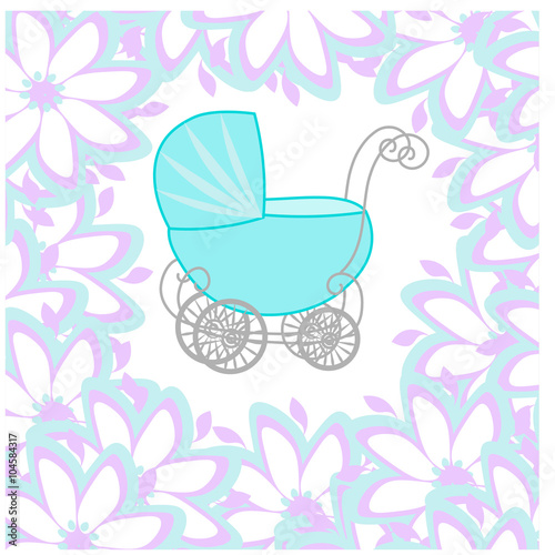 baby shower girl announcement baby carriage invitation with