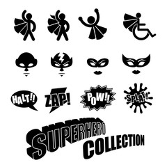 Black and white superhero icons symbol collection. Male and female.