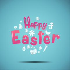 happy easter, typography, bunny, egg