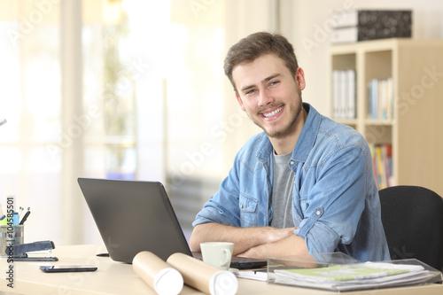 Entrepreneur posing and looking at camera