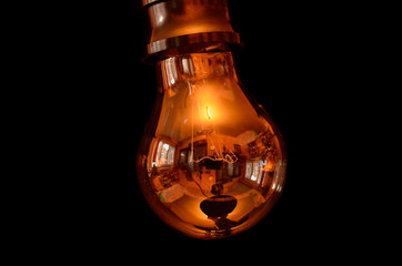 The world in the electric bulb. Clipping path included