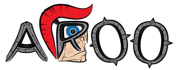 cartoon spartan warrior profile design vector