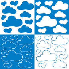 Four abstract patterns - cartoon clouds