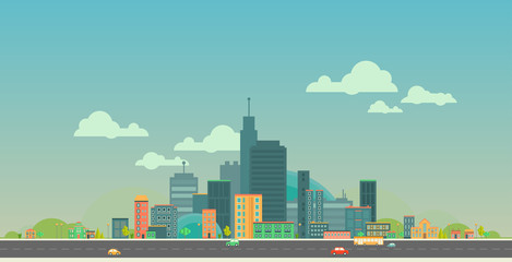Modern vector illustration of urban landscape. Flat city. Set of buildings. Panoramic creative background.