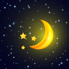 Moon and stars. Vector background with evening sky