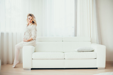 a happy  pregnant woman
