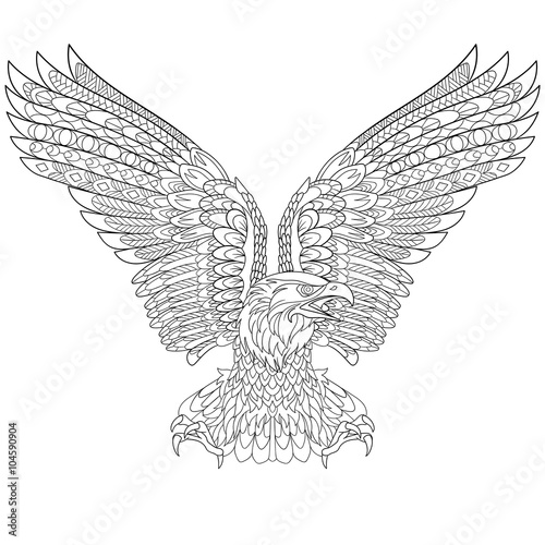 Xxl Kleurplaat A3 Quot Zentangle Stylized Cartoon Eagle Isolated On White