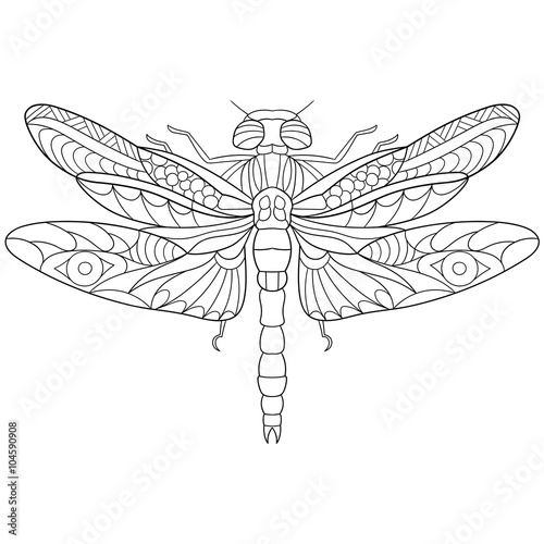 Zentangle Stylized Cartoon Dragonfly Insect Isolated On