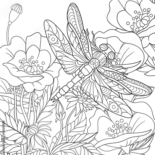 Zentangle Stylized Cartoon Dragonfly Insect Is Flying Around Poppy Flowers Sketch For Adult Antistress Coloring