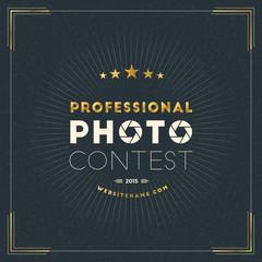 Photography Logo Design Template. Photography Retro Golden Badge. Professional Photo Contest