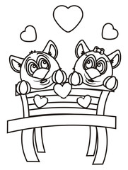 cat, kitten,girl, couple, boy, love,   heart,  valentine day, holiday, girl, Coloring,  black and white, isolated, cartoon, toy, illustration, animal, pet, fauna, greeting, bench, sit, wooden