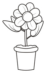 pot, plant, flower, flora, indoor, foliage, stem, earth, kidney, odor, fragrance, petals, middle, shape, variety, bouquet, isolated, cartoon, illustration, greeting
