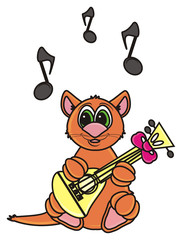 cat, kitten, whiskers, claws, meow, brown, boy, isolated, cartoon, toy, illustration, animal, pet, fauna, greeting, guitar, music, song, singing, vocal, note