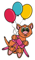 cat, kitten,  brown, boy, holiday, birthday, congratulations, gift, surprise, cake, balloons, air, balloons, isolated, cartoon, toy, illustration, animal, pet, fauna, greeting