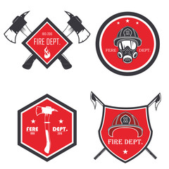 Set of firefighter emblems, labels, badges and logos on light background. vector illustration