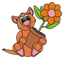 cat, kitten,  brown, boy, pot, plant, flower, flora, indoor, foliage, stem,  petals, isolated, cartoon, toy, illustration, animal, pet, fauna, greeting