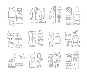 Flat clothes complect icons