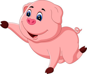 illustration of Cute pig cartoon posing