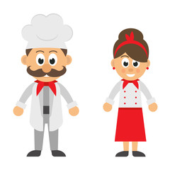 cartoon man and woman chef vector