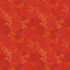 Valentine background. Seamless pattern with hearts and birds in red tones.