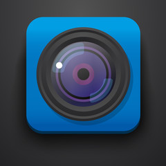 Photo camera symbol icon on blue