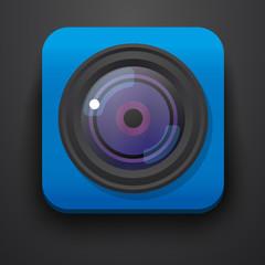 Photo camera symbol icon on blue