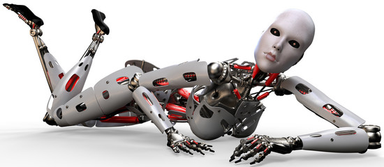 robot woman on the flor two