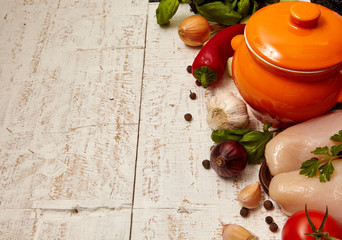 cooking background. vegetables and meat, ingredient for soup