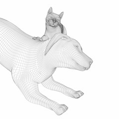 digitally created 3d line art illustration of a dog and cat  getting along