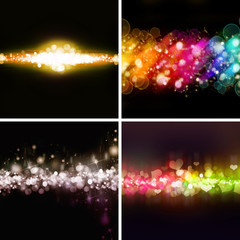 set of beautiful Bokeh backgrounds of design abstract