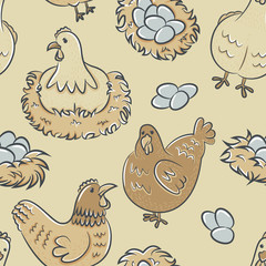 Chicken with eggs seamless pattern