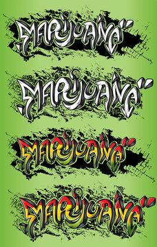 Marijuana street graffiti text vector