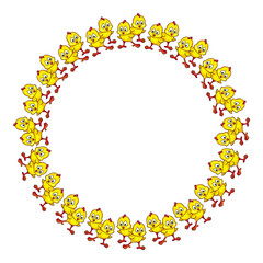 Funny frame with yellow chicks.Vector clip art.