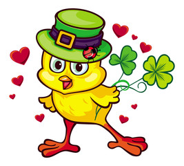 Funny yellow chicken in the green leprechaun hat. Vector clip art.