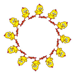 Round frame with funny yellow chicks.Vector clip art.