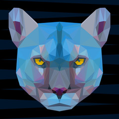 Abstract colored futuristic polygonal geometric puma