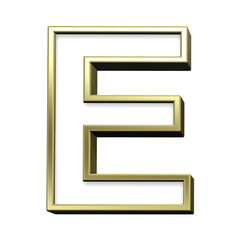 One letter from white with gold shiny frame alphabet set, isolated on white. Computer generated 3D photo rendering.