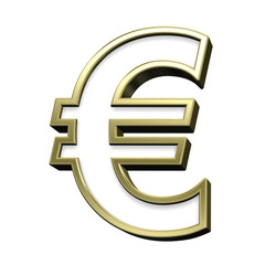 Euro sign from white with gold shiny frame alphabet set, isolated on white. Computer generated 3D photo rendering.