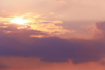 sunset in the cloudy sky