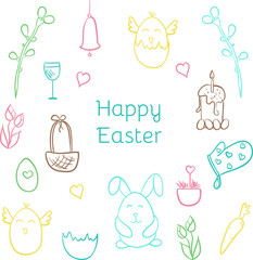 Happy Easter hand drawn cute doodle vector set