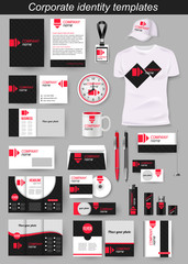Corporate identity business photorealistic design template. Classic blue stationery template design. Watch, T-shirt, cap, flag, package and Documentation for business. Vector illustration