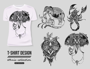 -shirt design with hand-drawn ethnic animals collection, mehendi tatoo style. White isolated t-shirt. Ethnic african, indian, totem tatoo elephant, scorpion, bear vector illustration