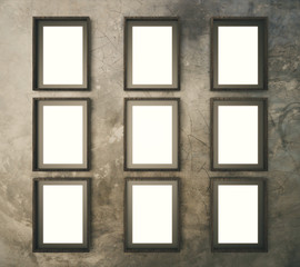 Blank brown picture frames on brown concrete wall, mock up, 3D R