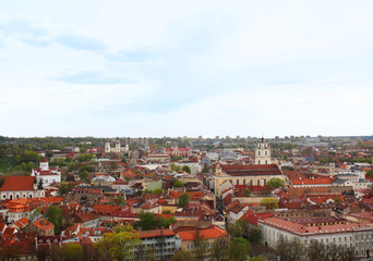 Vilnius city, a top view of the old city rooftops