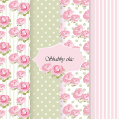 Shabby chic set of ornaments patterns. Vector