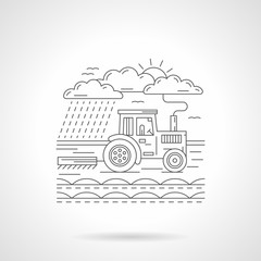 Tractor in a field flat line icon