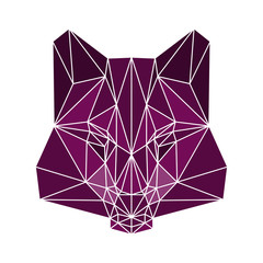 polygonal abstract wolf isolated on a white background