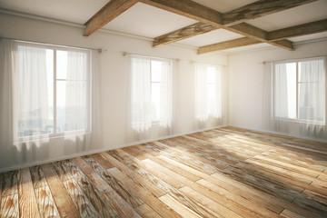 Empty interior brown parquet