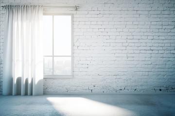 White brick wall and window