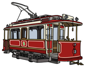 Vintage red tramway / Hand drawing, vector illustration